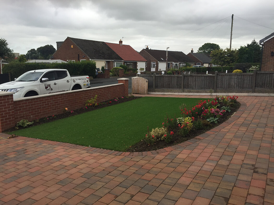 side view of artificial grass & lawn done in lancaster