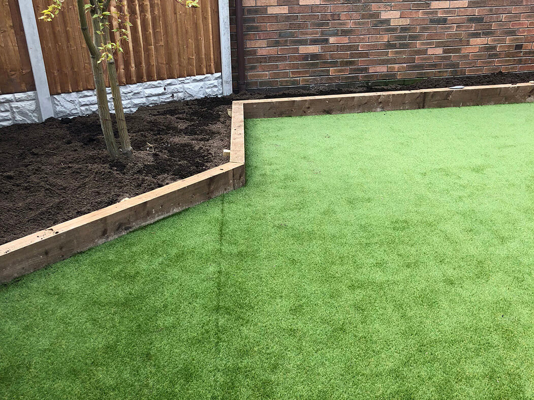 edges of artificial lawn/garden done in lancashire