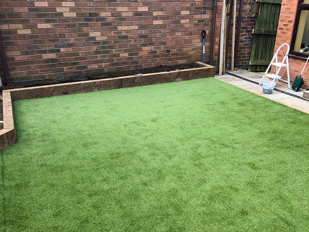 wide view of artificial garden/lawn, lancashire