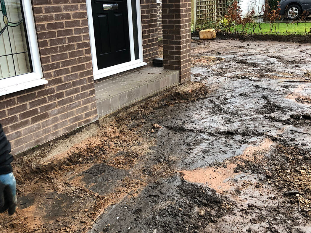 Driveway being torn up for block paving in Lancashire