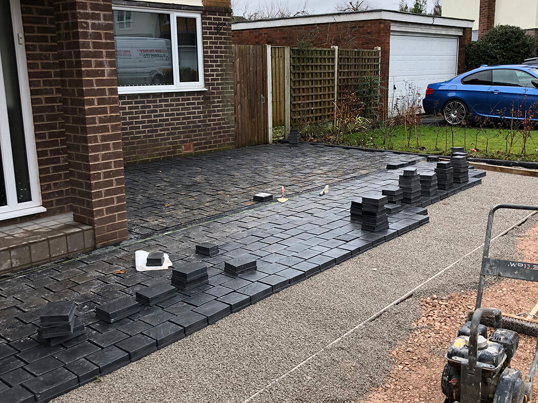 Another view of half complete block paving done in Lancashire driveway