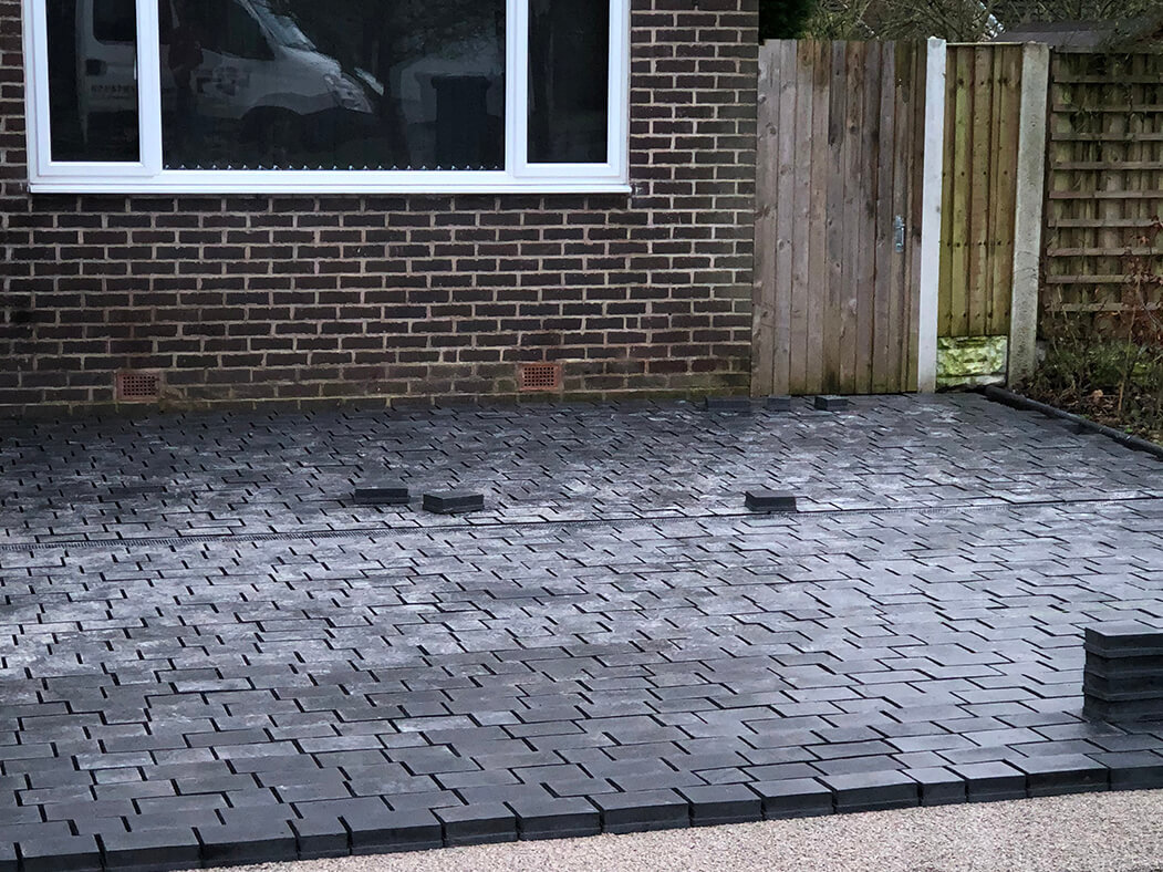 Block Paving nearly complete in Lancashire Driveway