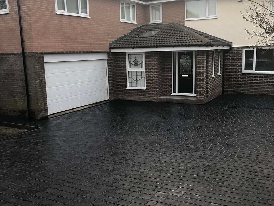 View of house and Block Paving Driveway in Lancashire