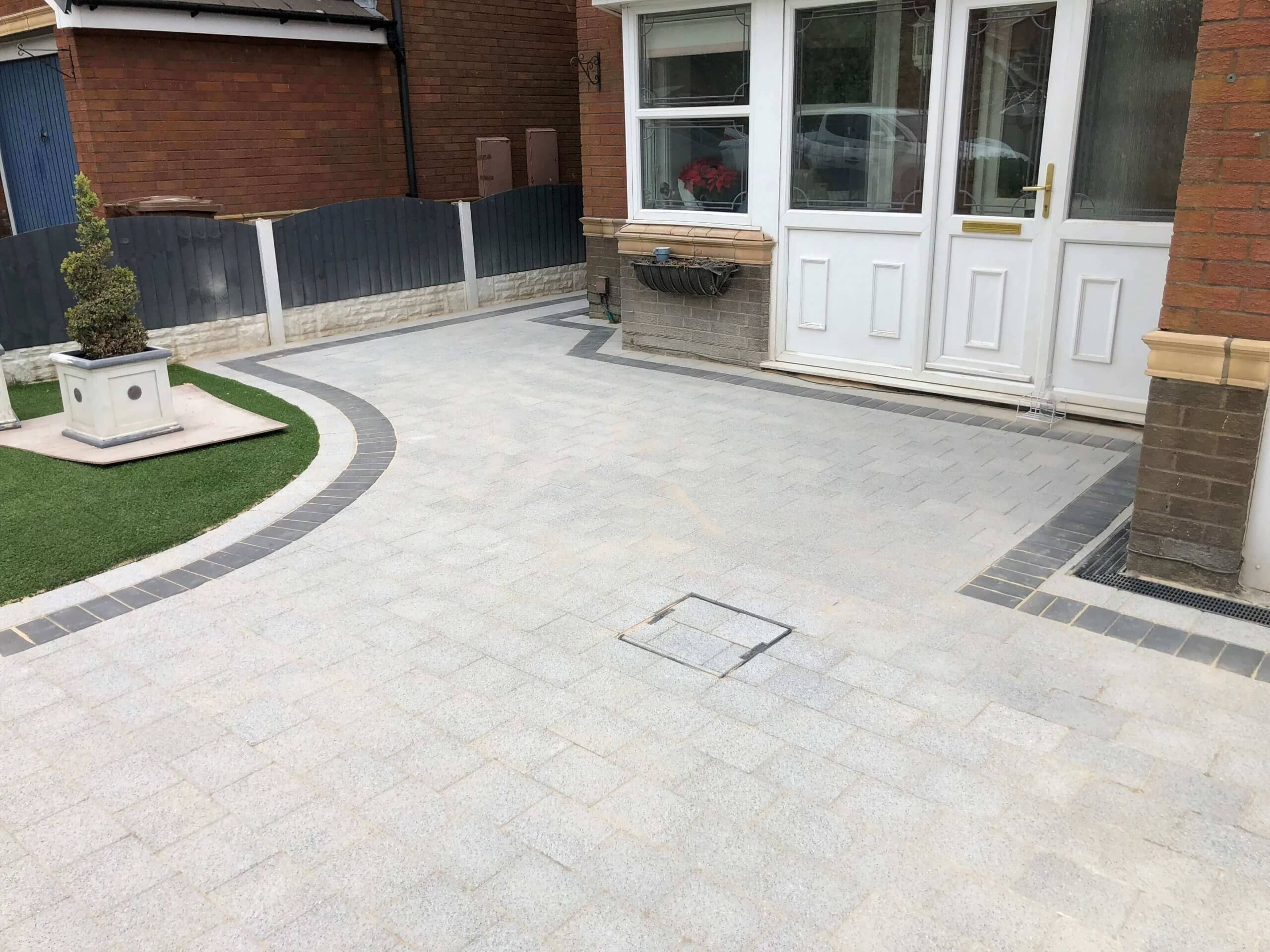 Front door view of Block Paving Driveway in Sienna Silver, Lancaster, Lancashire