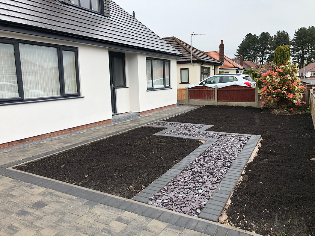 Block Paving Driveway in Slate with Front Garden in Morecambe, Lancashire