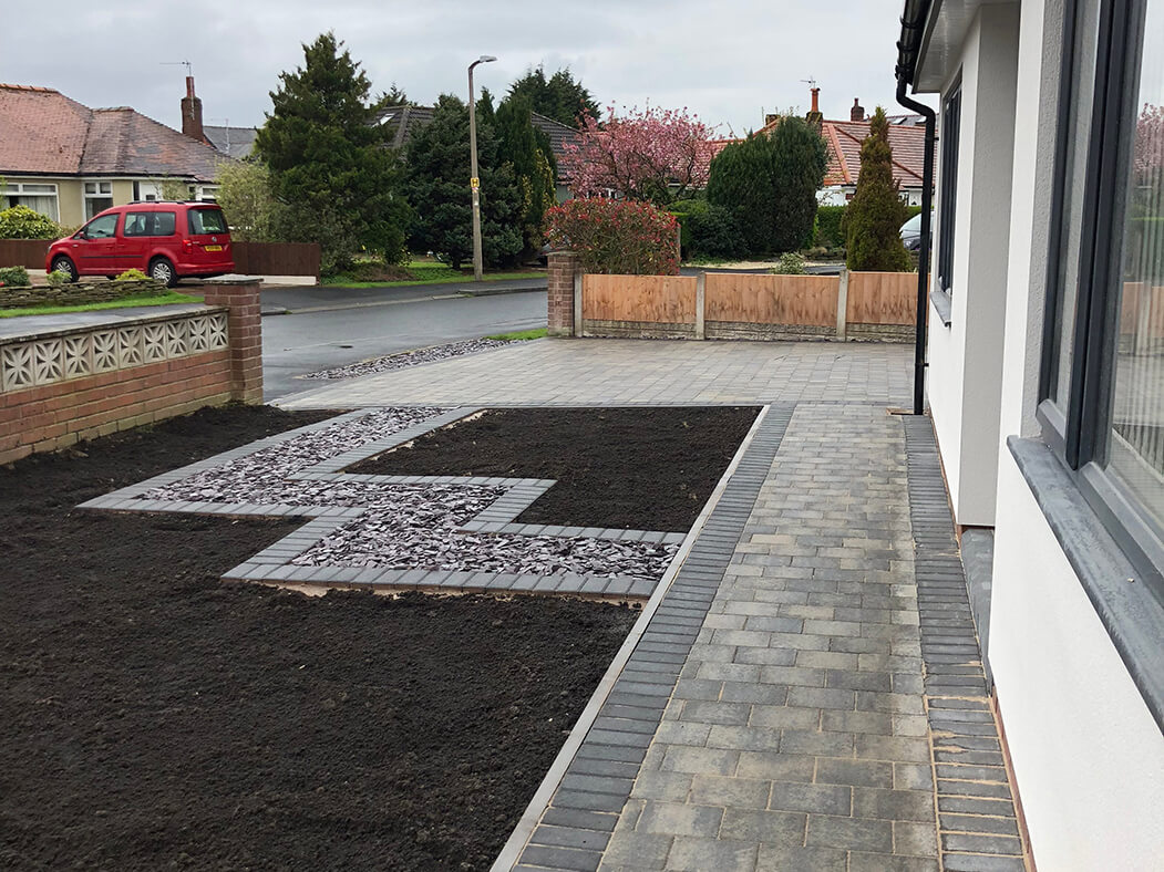 Side view of Block Paving Driveway and Landscaped front garden in Morecambe, Lancashire