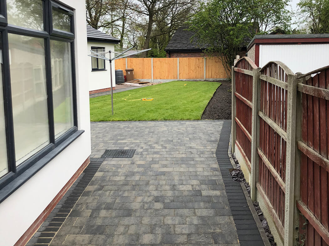 Block Paving Driveway Shannon Slate leading to back garden in Morecambe, Lancashire