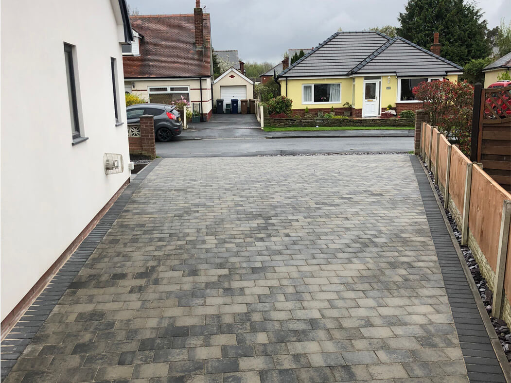 Driveway view of Block Paving completed in Morecambe, Lancashire