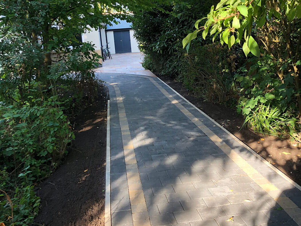 Block paving walkway with Indian Sandstone driveway in Lancaster, Lancashire