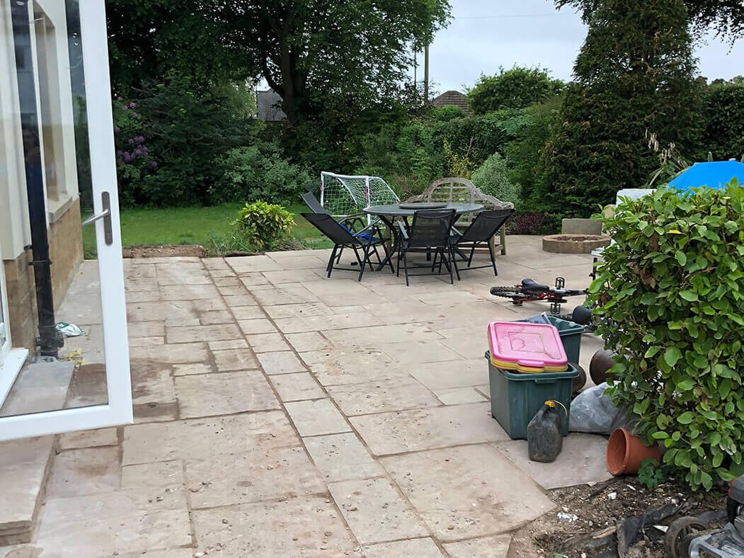 Before Block Paving Indian Stone was complete on driveway in Lancaster, Lancashire