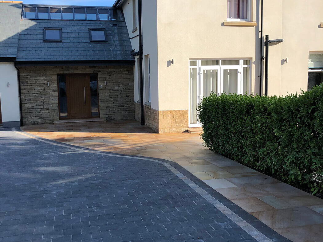 Wide shot of Block Paving Driveway and Indian Sandstone in Lancaster, Lancashire