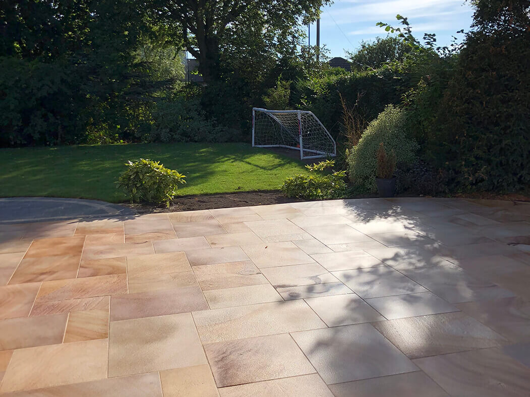 Back Garden of Block Paving Driveway Indian Sandstone in Lancaster, Lancashire