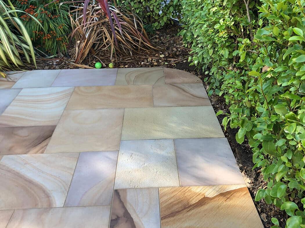 Corner Close up of Indian Sandstone of Block Paving Driveway job in Lancaster, Lancashire