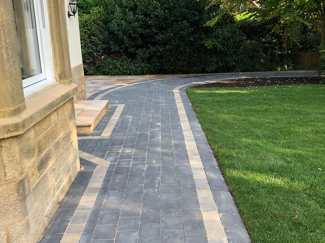 Close up of Block Paving Driveway with Indian Sandstone in Lancaster, Lancashire