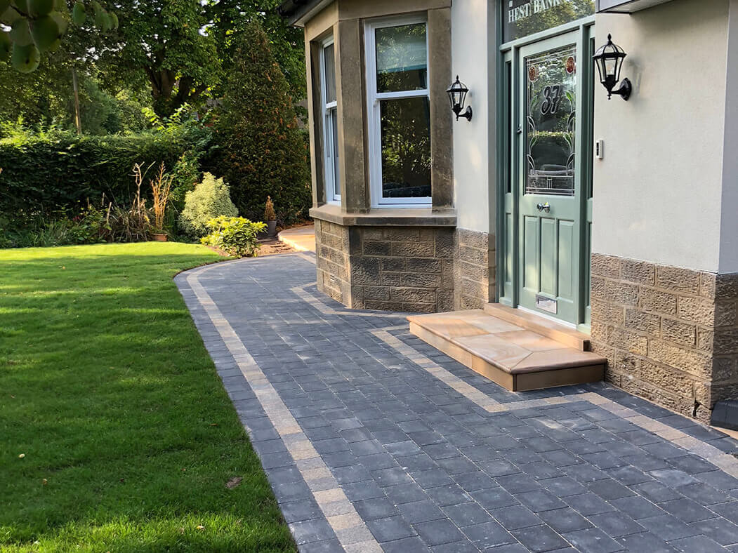 Back door view of Block Paving Driveway and Indian Sandstone steps in Lancaster, Lancashire