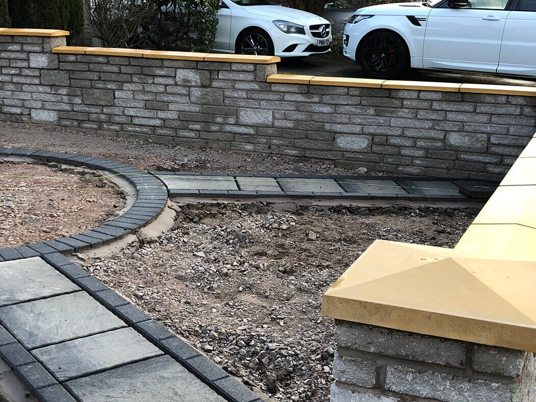 block paving and walling being done in lancashire