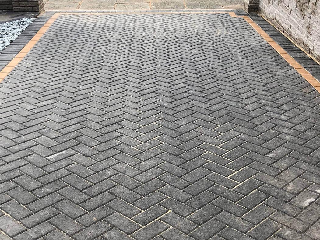 block paving driveway and walling, lancashire