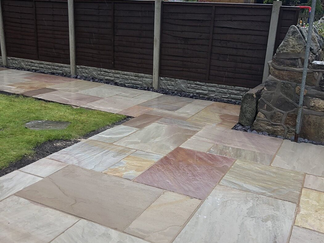 side view of indian sandstone patio in lancaster