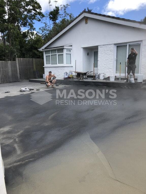 process of cobble pattern concrete driveway in lancashire