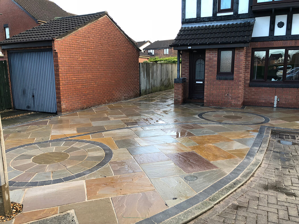 Finished Framed Indian Sandstone Driveway in Lancashire
