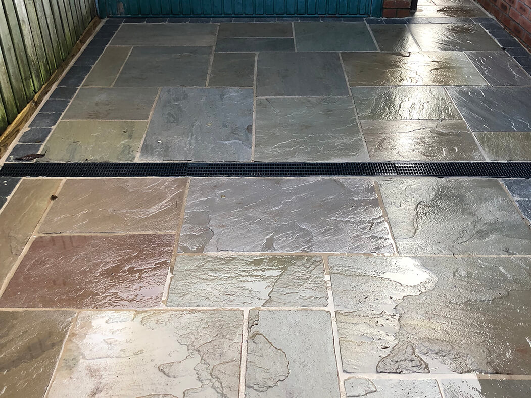 indian sandstone driveway lancashire close up