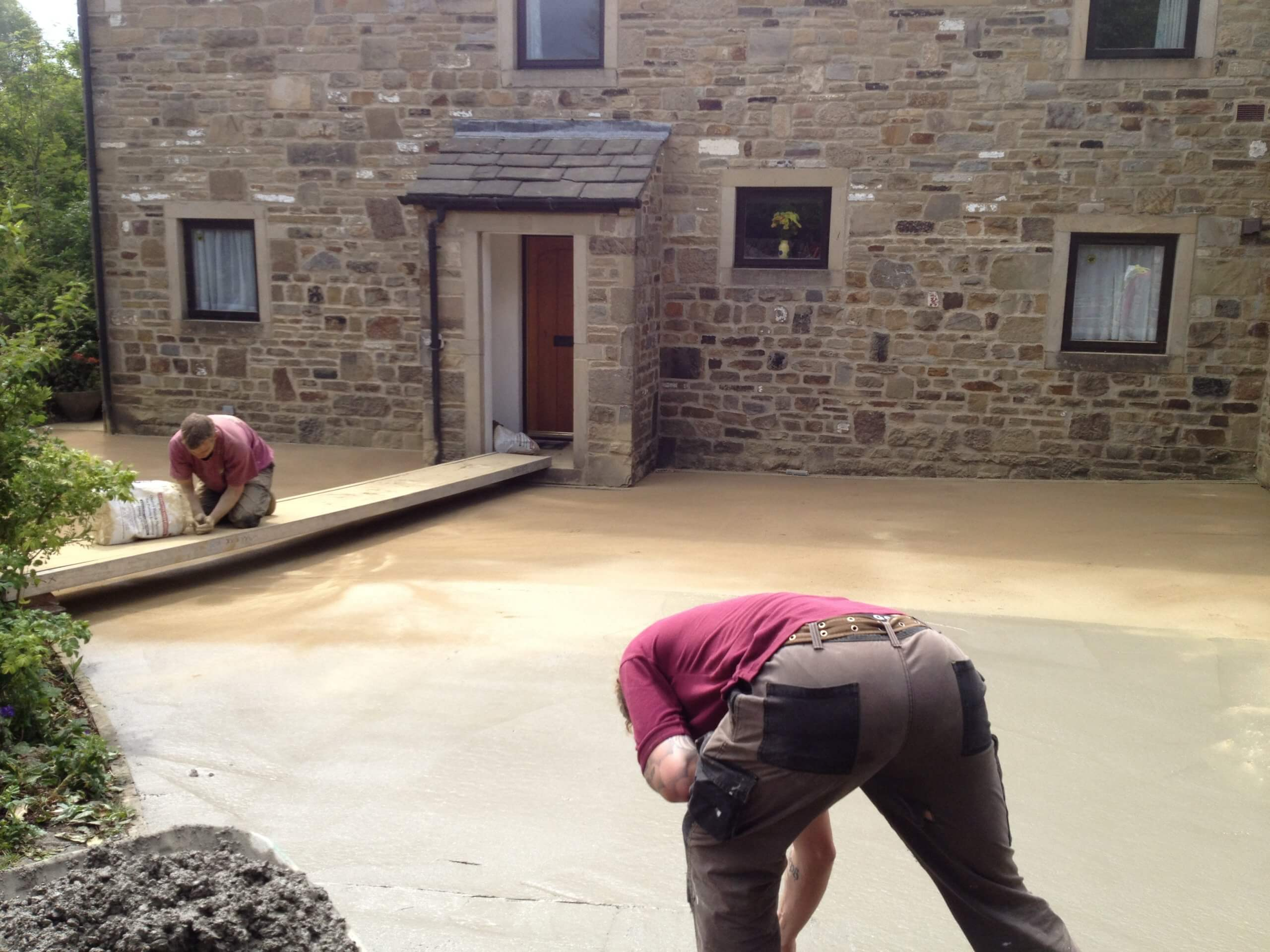 process of pattern imprinted concrete drive near Lancashire