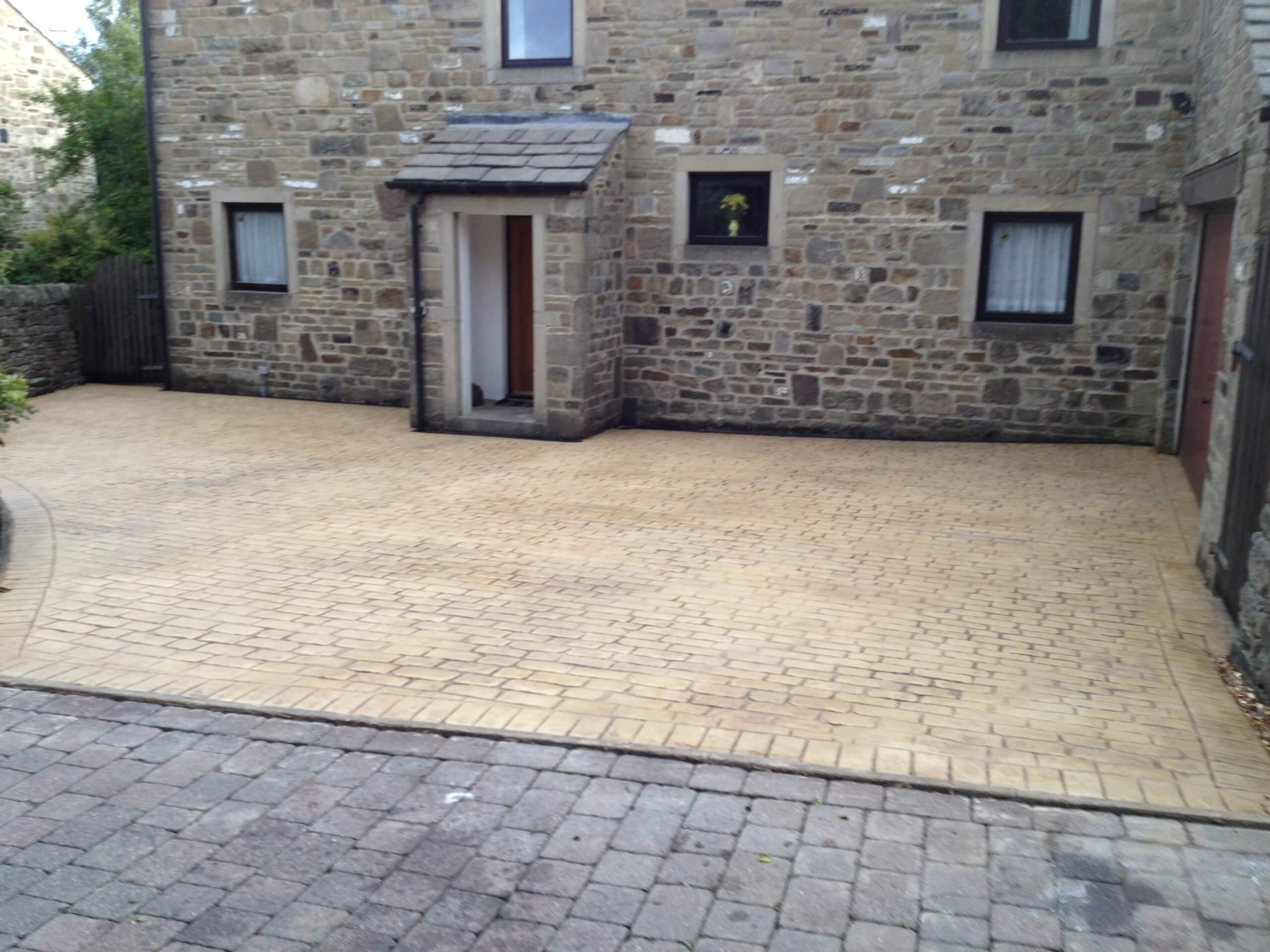 finished pattern imprinted concrete driveway near lancashire