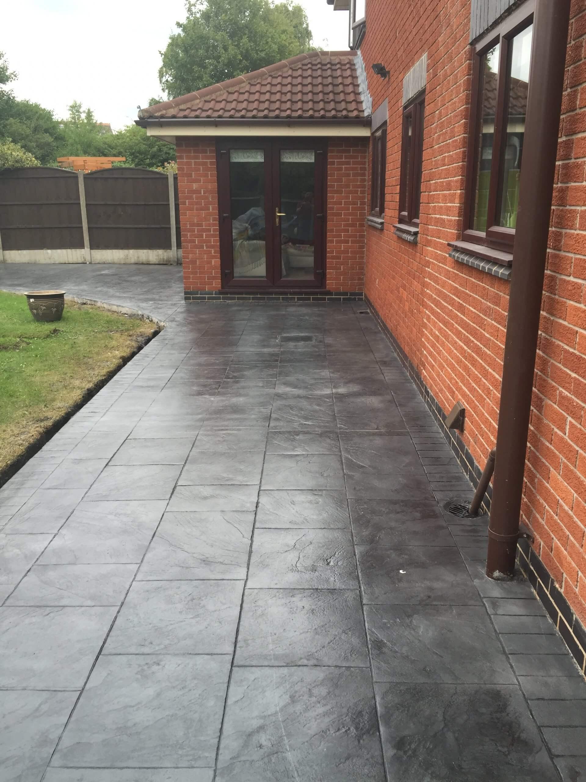 back garden door pattern imprinted concrete driveway Lancashire