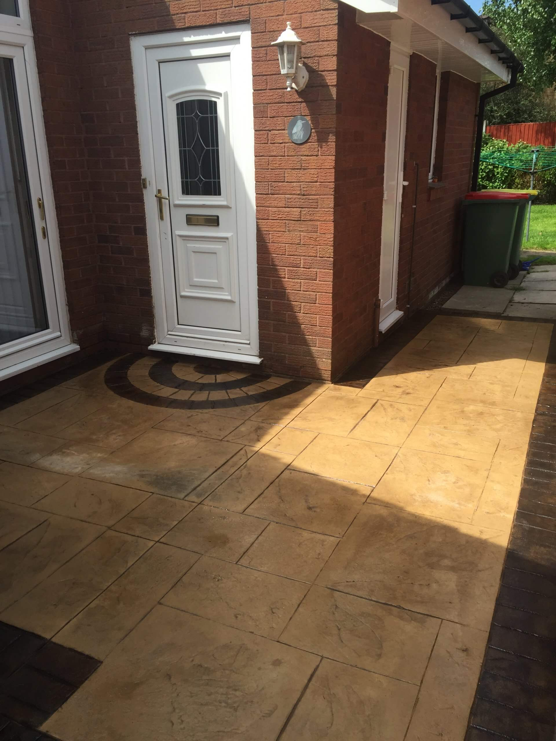 side door of pattern imprinted concrete lea lancashire