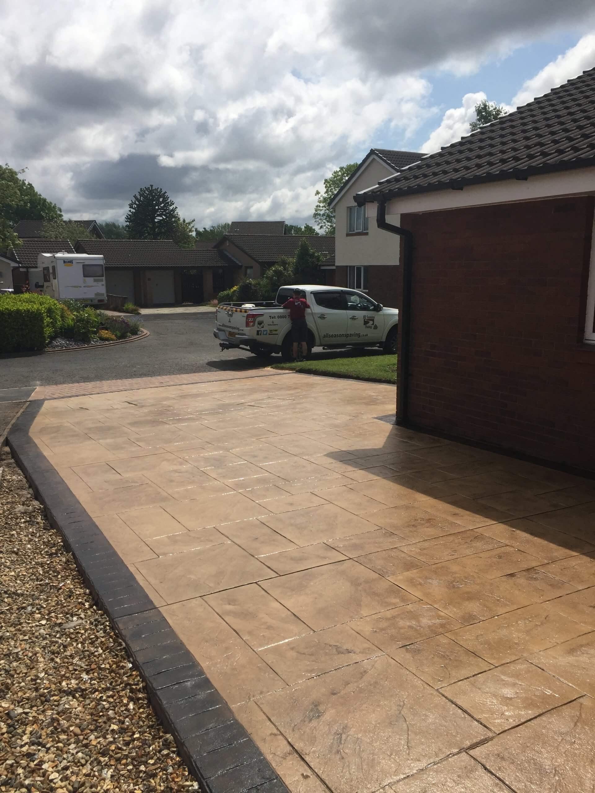 pattern imprinted concrete driveway in lancashire street view