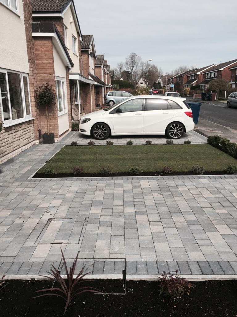 Side view of Pennant Grey Block Paving Driveway in Morecambe, Lancashire