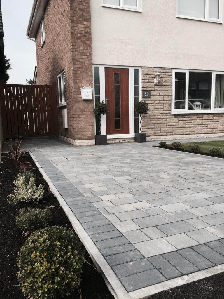 One driveway view of Pennant Grey Block Paving in Morecambe, Lancashire
