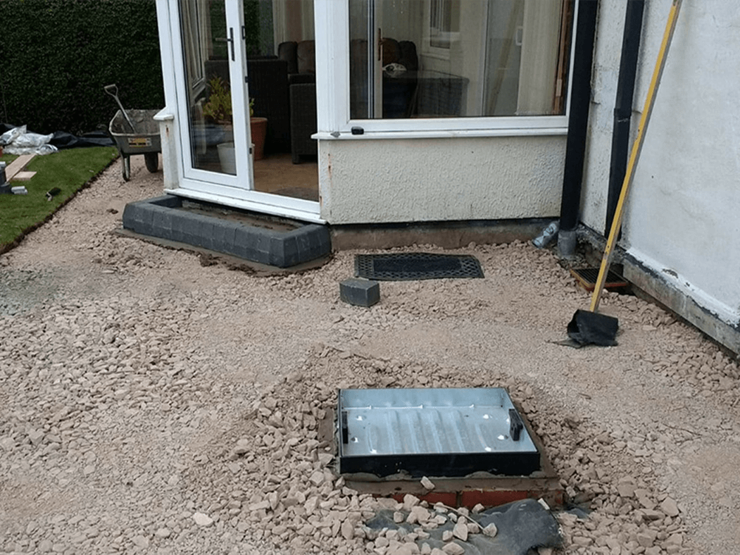 before process of porcelain patio anthracite grey in lancashire