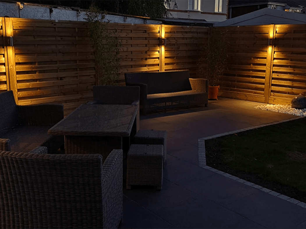 Anthracite Porcelain Patio in Lancaster at night