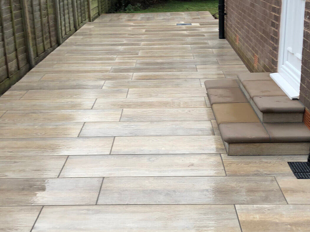 alley of porcelain patio wood effect in morecambe door and steps