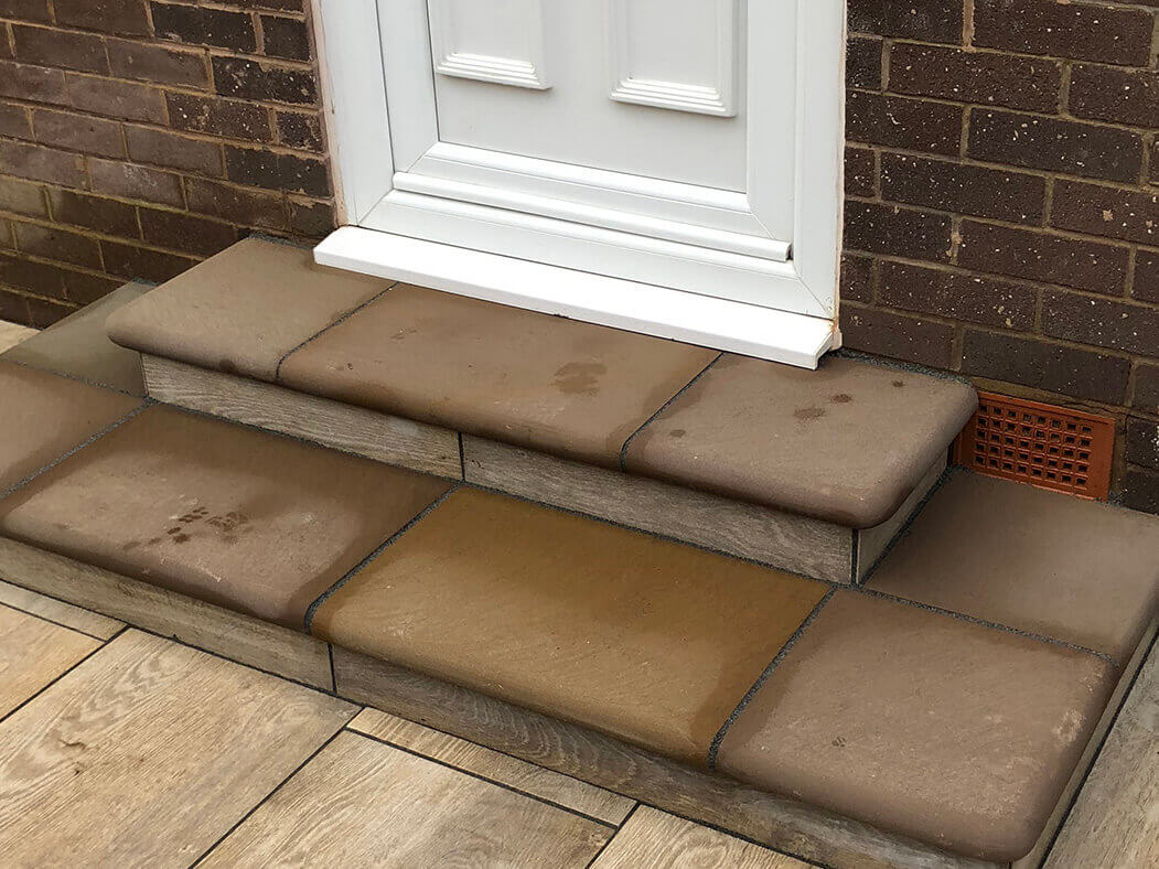 door and steps of porcelain patio wood effect morecambe