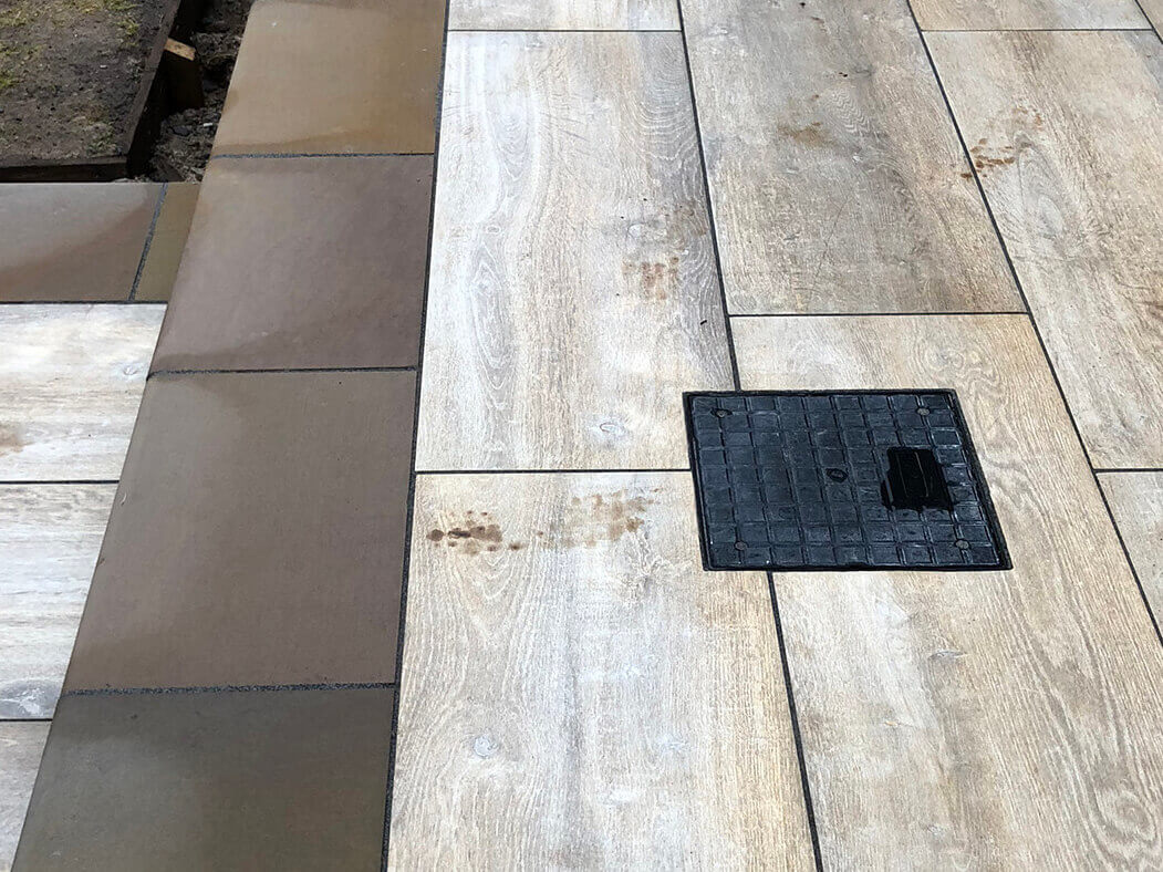 close up of porcelain patio wood effect in morecambe