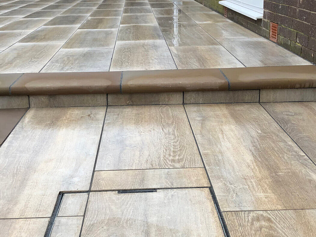 angles of finished porcelain patio wood effect in morecambe