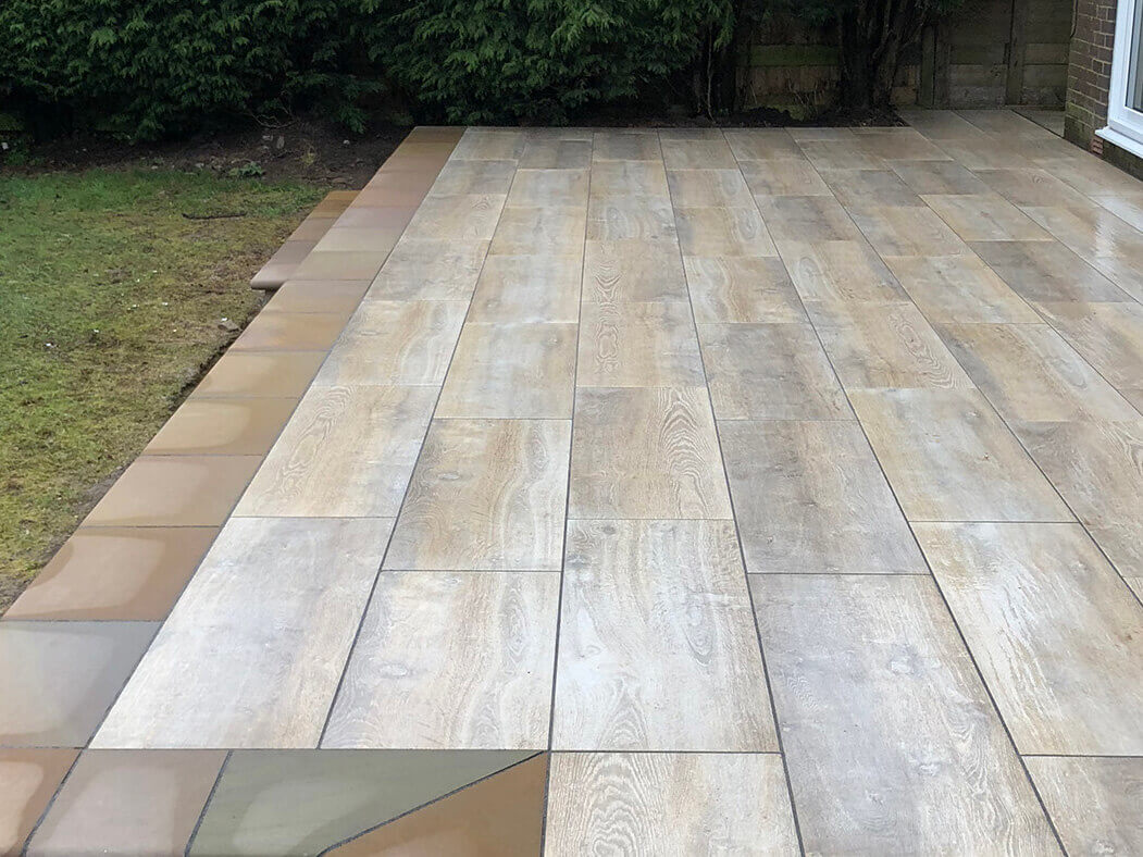 wide view of porcelain patio wood effect in morecambe