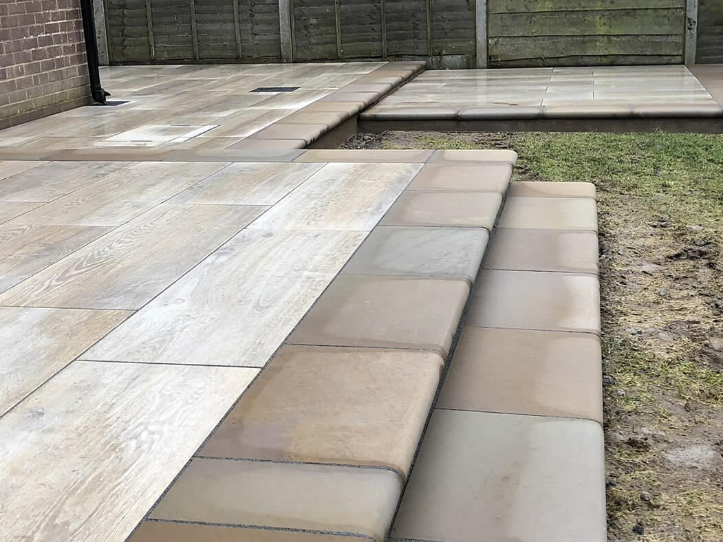 stepped porcelain patio wood effect in morecambe