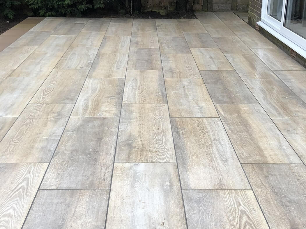 back garden porcelain patio wood effect in morecambe