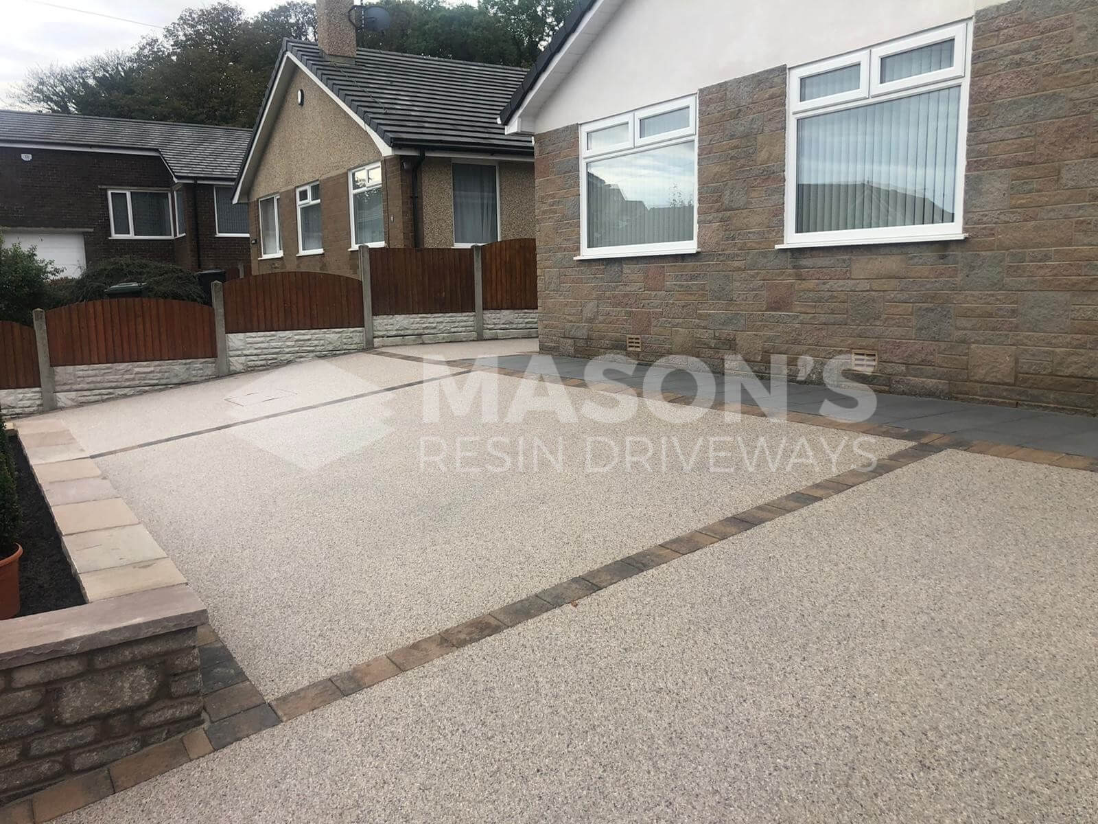 Slanted Pearl Quartz Resin Bound Driveway in Morecambe, Lancashire