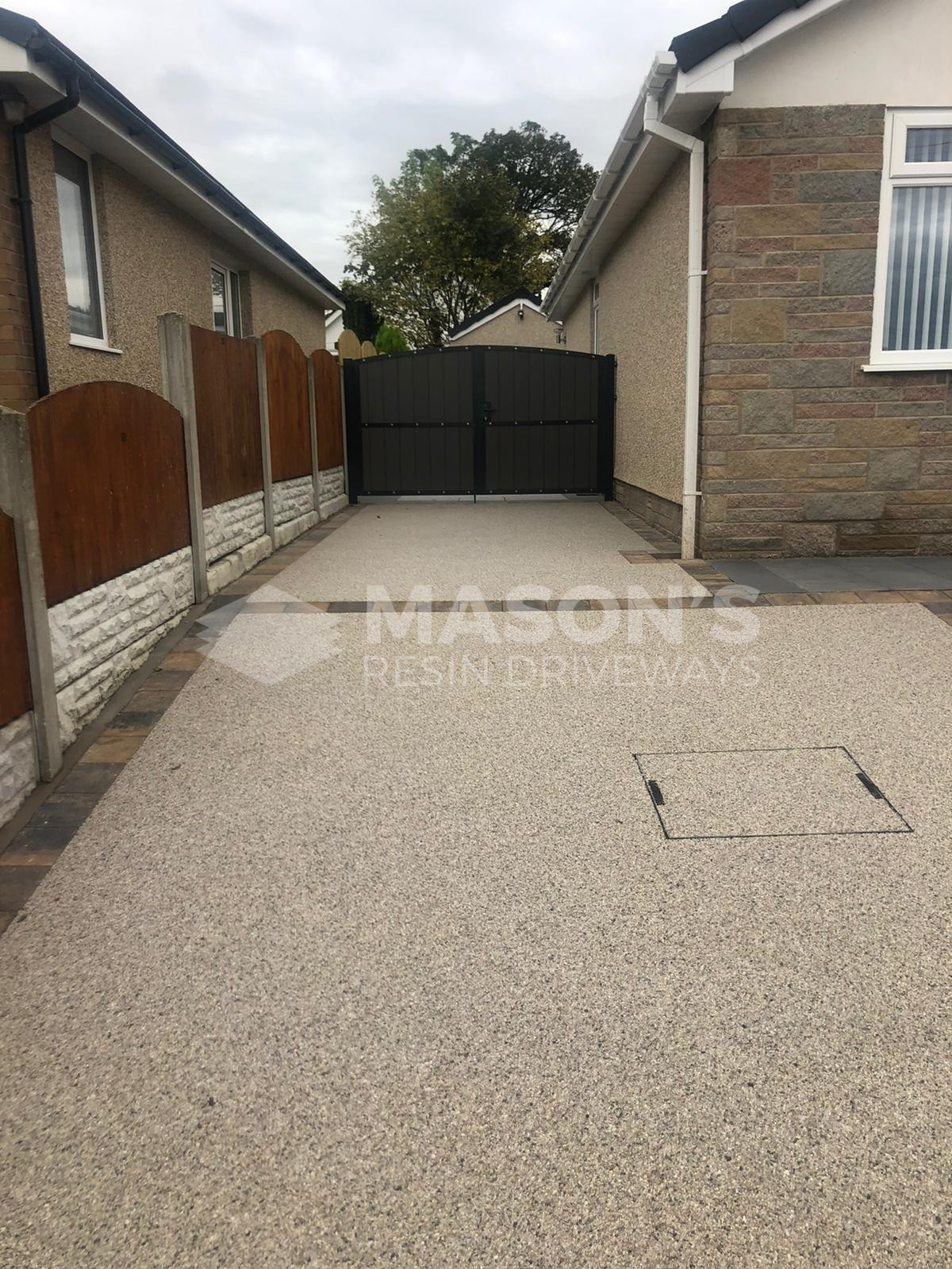 Resin Bound Driveway Pearl Quartz leading to back garden in Morecambe, Lancashire