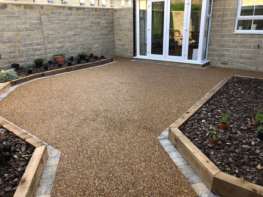 Resin patio installed in Morecambe.