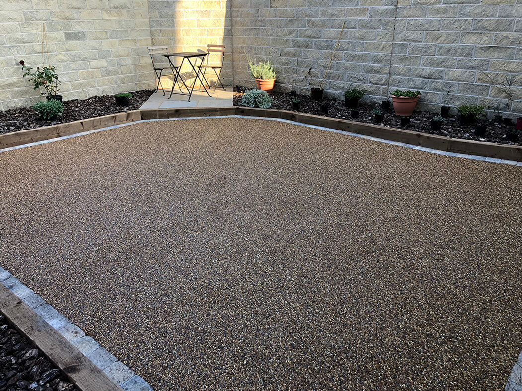Resin patio installed in Morecambe showing bistro garden furniture