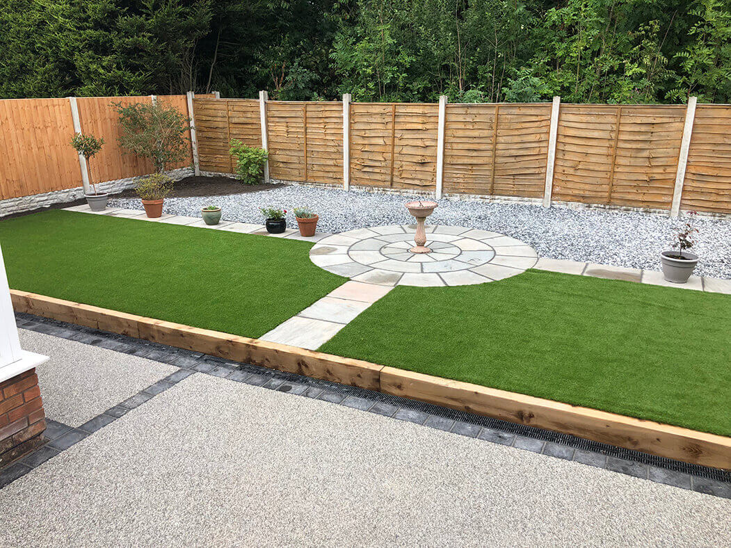 full view of resin driveway and landscaping in morecambe