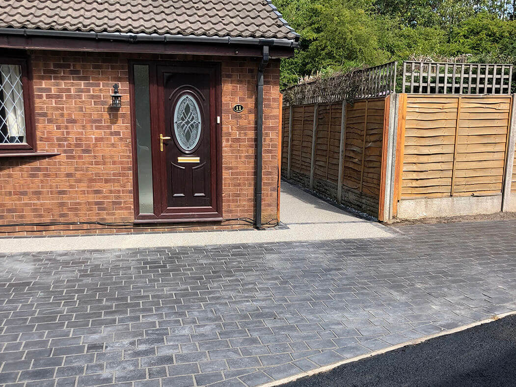 full view of driveway on resin and landscaping job morecambe
