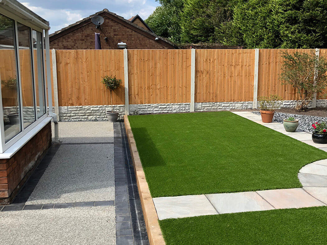 side view of landscaping and resin driveway in morecambe