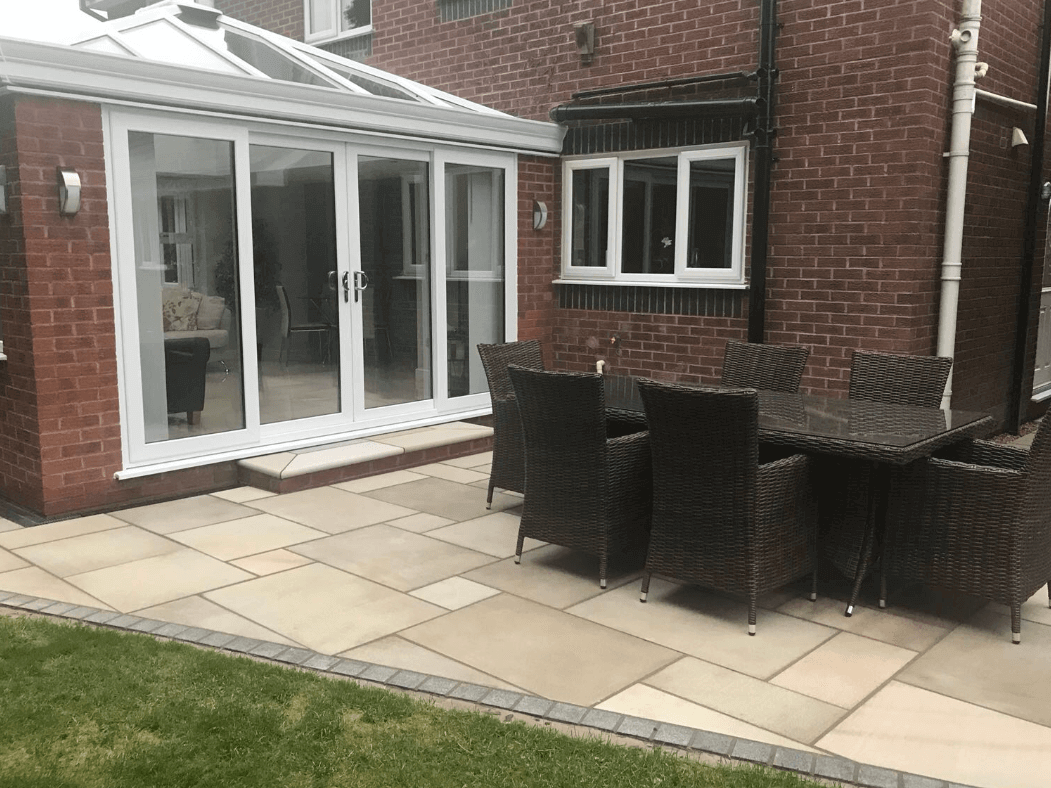 sawn indian sandstone patio in, lancaster