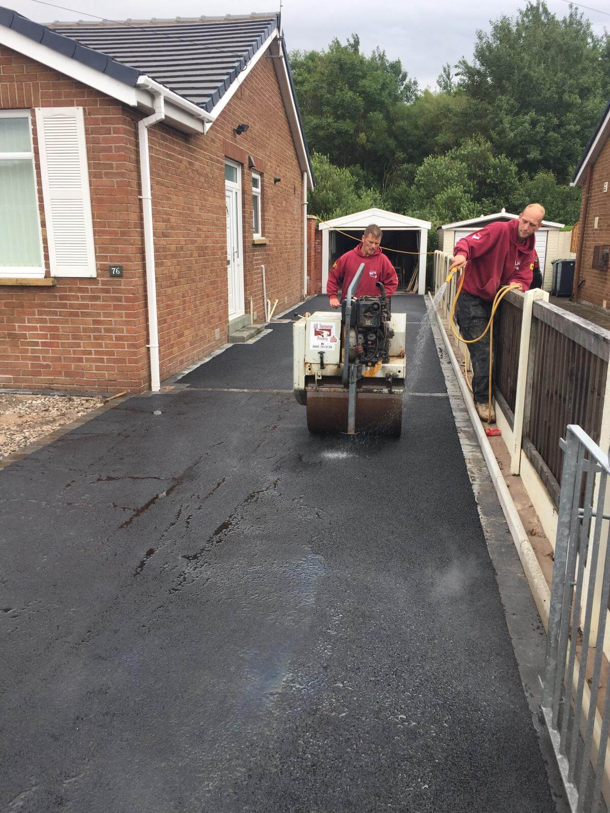 Silver Quartz Resin Driveway, tarmac being laid in Lancaster, Lancashire